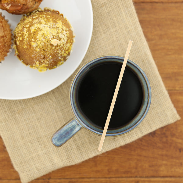 "5.5"" Wood Coffee Stirrer with Coffee and Muffins"