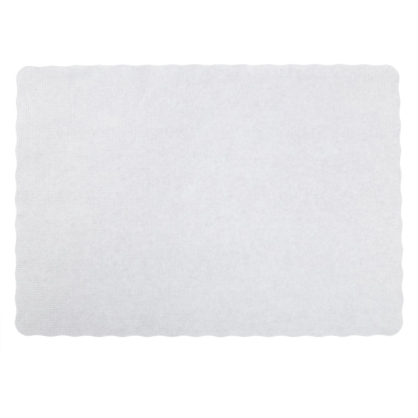 "9.5"" x 13.5"" Stirling White Scalloped Placemat"