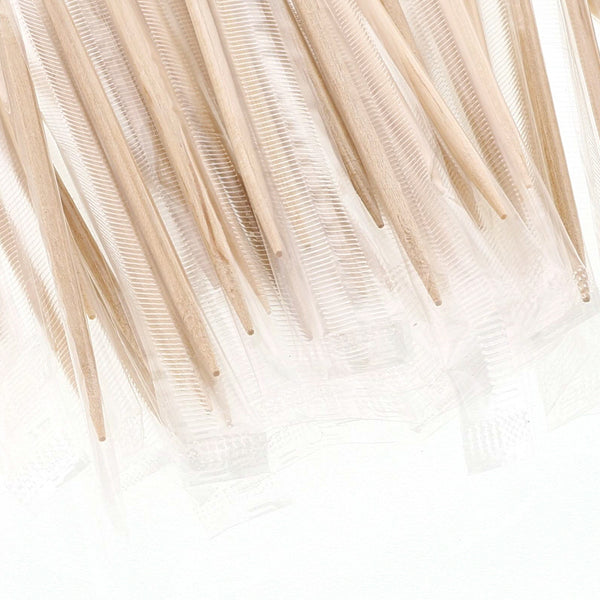 Plain Individual Cello Wrapped Toothpicks Close-up