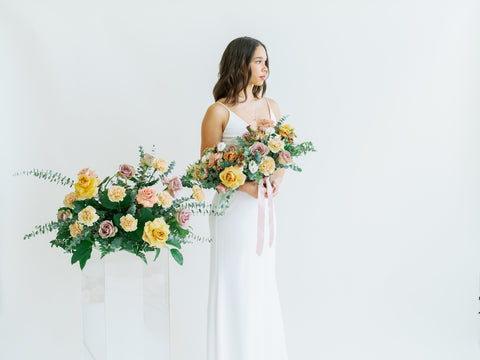 diy ceremony flowers and bridal bouquet