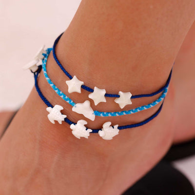 Anklet 3-pack Blue Siren