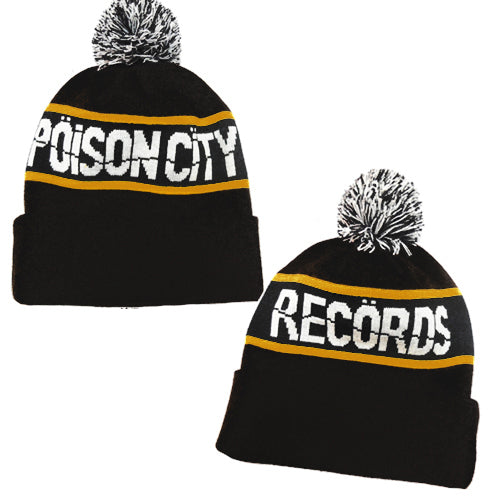 POISON CITY 'Pom Pom' Beanie (Black/ Mustard)