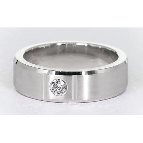Mens Ring 0.50 Carats Round Brushed Finish Men'S Ring White Gold 14K Vs1 F
