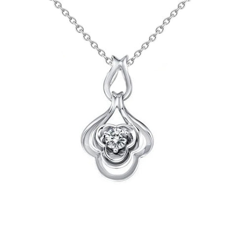 0.75 Carats Solitaire Round Diamond Pendant Necklace 14K White Gold