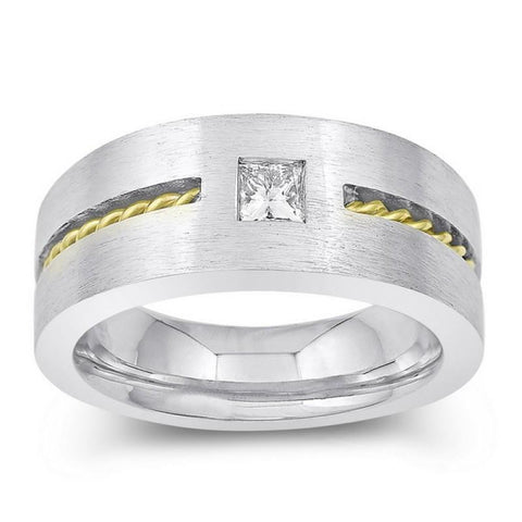 0.35 Carats Princess Cut Diamond Mens' Solitaire Ring Two Tone Gold 14K Mens Ring