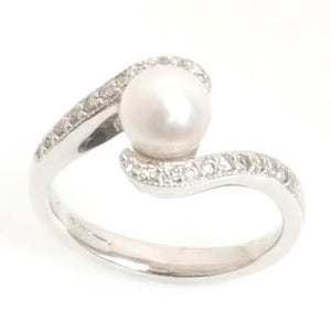 0.50 Carats Pearl And Round Cut Diamond Engagement Ring Gemstone Ring