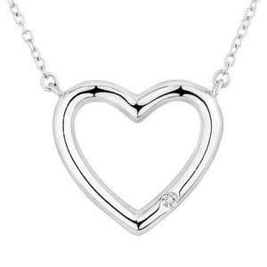 0.50 Carats Round Brilliant Cut Diamond Heart Pendant 14K White Gold Pendant