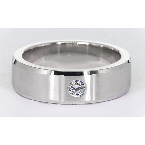 0.50 Carats Round Brushed Finish Men'S Ring White Gold 14K Vs1 F Mens Ring