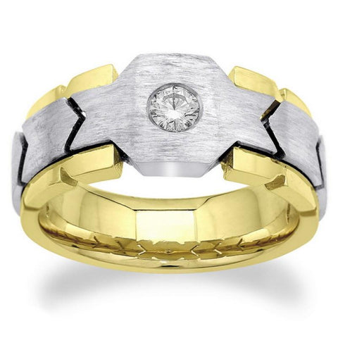 0.50 Carats Round Diamond Solitaire Mens' Ring Two Tone Gold 14K Mens Ring