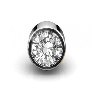 0.50 Carats Single Round Diamond Stud Mens' Earring 14K White Gold Single Stud