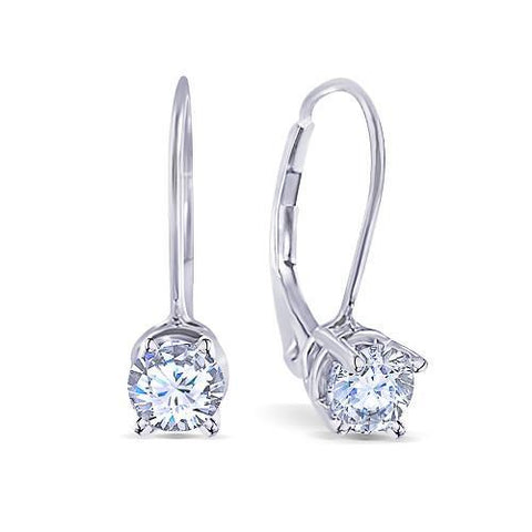 0.60 Carats F Vs2 Round Ideal Cut Diamond Earrings Leverback Eurowire 14K Gold Leverback Earrings