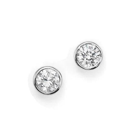 0.60 Carats Round Diamond Stud Earring 14K White Gold Stud Earrings