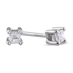 0.70 Carats 4 Prong Set Princess Cut Diamond Stud Earring Gold 14K New Stud Earrings