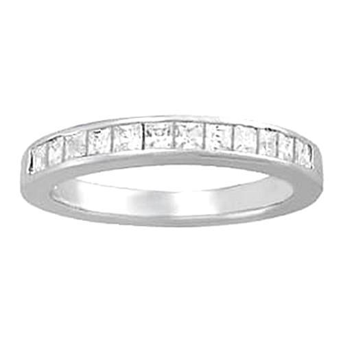 0.72 Carat Diamond Engagement Band Princess White Gold 14K Band