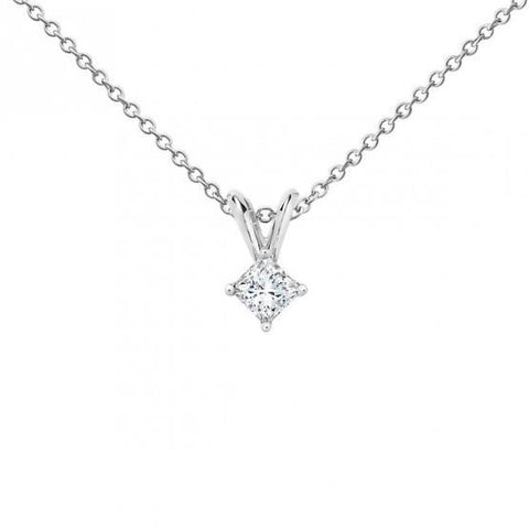0.75 Carats Princess Cut Diamond Women Pendant White Gold 14K Pendant