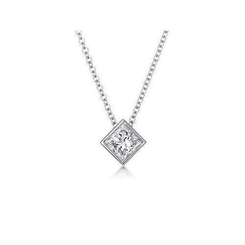 0.75 Carats Princess Cut Solitaire Diamond Pendant White Gold 14K Pendant