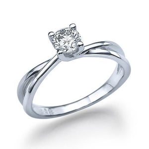 0.75 Carats Round Diamond Engagement Ring F Vs1 Diamond 14K White Gold Solitaire Ring