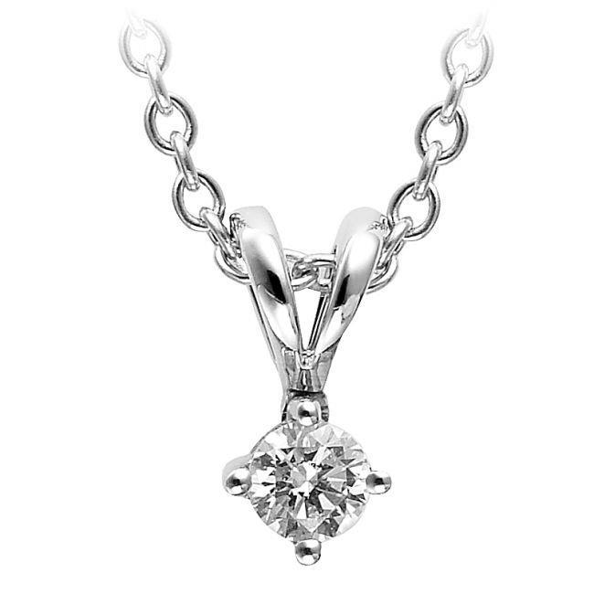 0.75 Carats Solitaire Round Diamond Pendant Necklace 14K White Gold Pendant