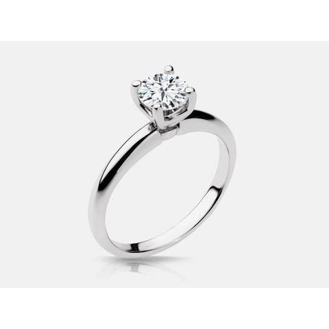 0.75 Carats Solitaire Round Prong Set Diamond Ring 14K White Gold Solitaire Ring
