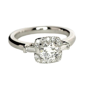 0.75 Carats Three Stone Diamonds Engagement Ring White Gold 14K Jewelry Three Stone Ring