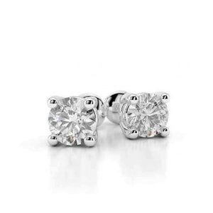 0.80 Carats Prong Set Round Diamond Stud Earring 14K White Gold Stud Earrings