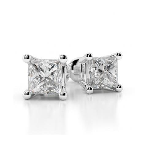 0.90 Carats Princess Cut Diamond Stud Earring 14K White Gold Stud Earrings