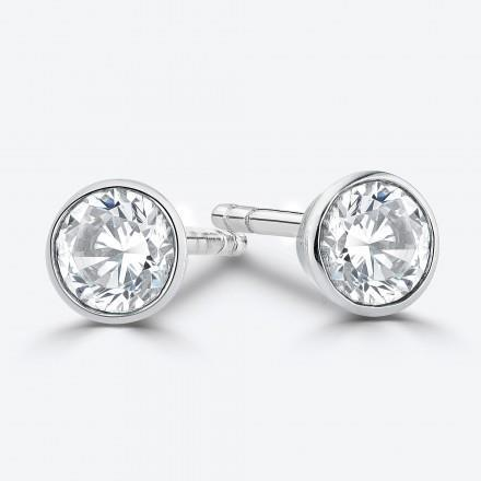 0.90 Carats Round Cut Diamond Women Stud Earring White Gold 14K Bezel Set Stud Earrings
