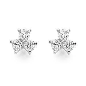0.90 Carats Round Diamond Three Stone Stud Earring 14K White Gold Stud Earrings