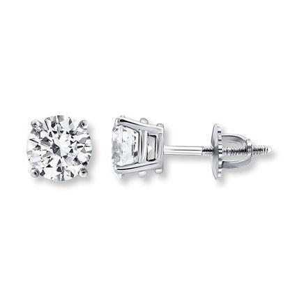 0.90 Carats Round Solitaire Diamond Stud Earring White Gold 14K Prong Set Stud Earrings