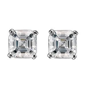 1 Carat Asscher Cut Diamond Stud Earring 14K White Gold Stud Earrings