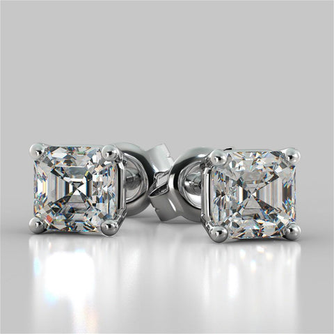 1 Carat Asscher Cut Diamond Stud Earring Solid White Gold 14K Stud Earrings