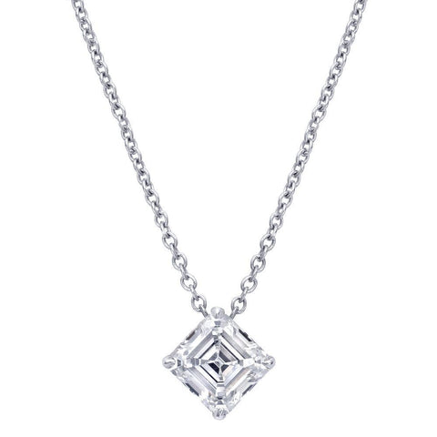 1 Carat Princess Diamond Necklace Pendant White Gold 14K Women Jewelry Pendant