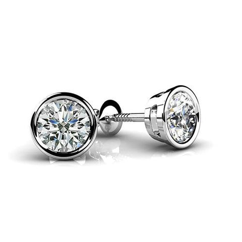 1 Carat Bezel Set Round Cut Diamond Stud Earring White Gold 14K Stud Earrings