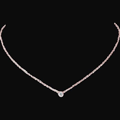 1 Carat Bezel Set Yard Diamond Solitaire Necklace Pendant Rose Gold 14K Pendant