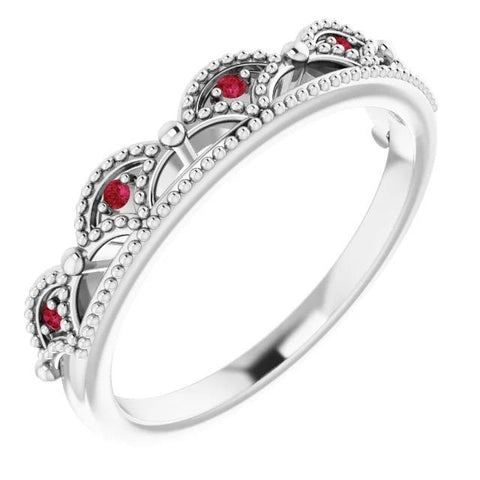 1 Carat Crown Like Ring Ruby Stones White Gold 14K Gemstone Ring