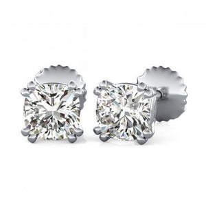 1 Carat Cushion Cut Double Prong Set Diamond Stud Earring 14K White Gold Stud Earrings