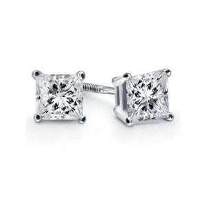 1 Carat Diamond Stud Earring Four Prong Set Princess Cut Gold White 14K Stud Earrings
