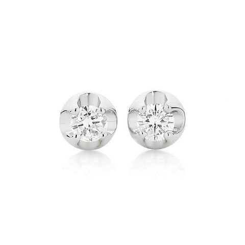 1 Carat Diamond Women Stud Earrings 14K White Gold Stud Earrings