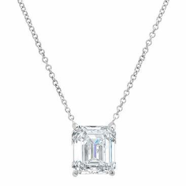 1 Carat Emerald Diamond Women Necklace Pendant White Gold 14K Pendant