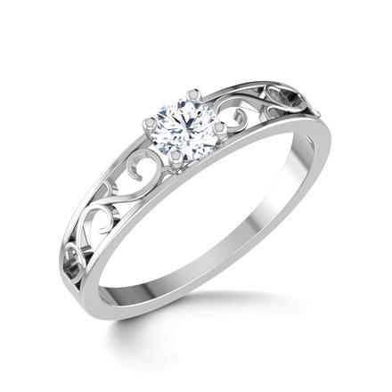 1 Carat F VS1 Round Cut Solitaire Diamond Engagement Ring 14K White Gold Solitaire Ring