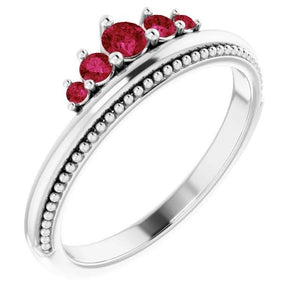 1 Carat Five Stone Ring Ruby White Gold 14K Gemstone Ring