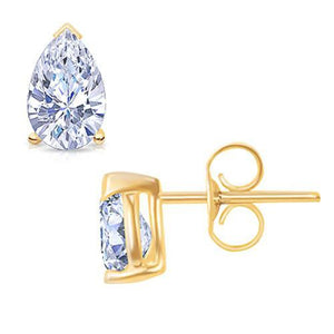 1 Carat G Vs1 Diamond Stud Earring Pair Yellow Gold 14K Stud Earrings
