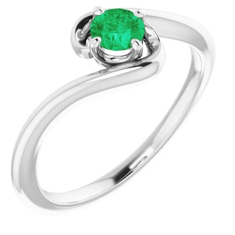 1 Carat Green Emerald Ring Freeform Shank Setting White Gold 14K Gemstone Ring