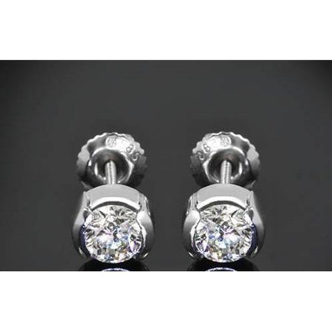 1 Carat Half Bezel Set Round Diamond Stud Earring Stud Earrings