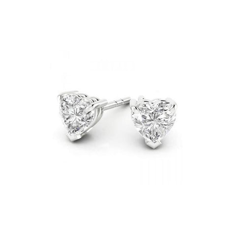 1 Carat Heart Cut Diamond Stud Earring 14K White Gold Stud Earrings