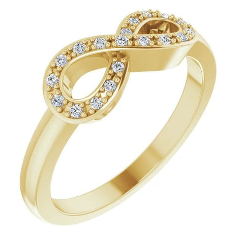 1 Carat Infinity Diamond Promise Ring Yellow Gold 14K Vs1 F Band