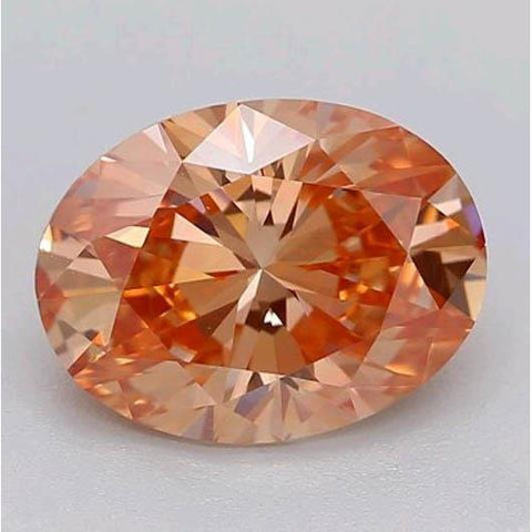 1 Carat Oval Cut Pinkish Orange Loose Diamond Diamond
