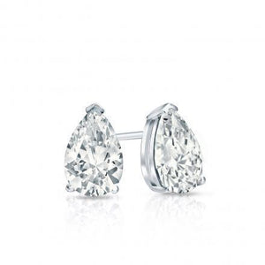 1 Carat Pear Cut Diamond Women Stud Earrings 14K White Gold Stud Earrings