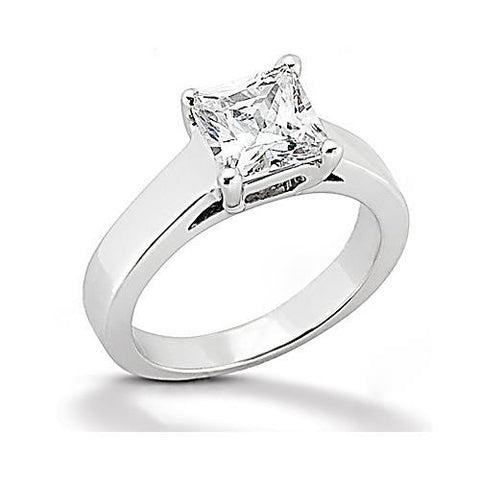 1 Carat Princess Cut Diamond Engagement Ring White Gold 14K Solitaire Ring