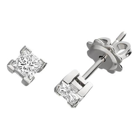 1 Carat Princess Cut Diamond Stud Earring Gold Jewelry Stud Earrings